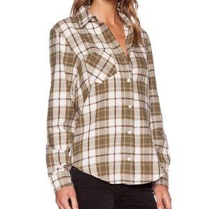 Anine Bing Olive Plaid Flannel Boyfriend Shirt Sm